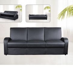 Faux Leather Sofa Bed With Storage Toddler Flip Out Cover 3 Seater Black Brown Cream