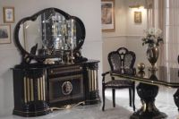 Gold & black italian high gloss dining table & chairs ...