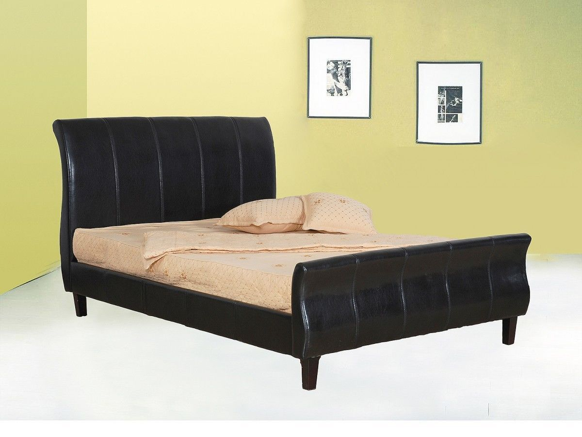 Double King Size Faux Leather Bed In Brown Black
