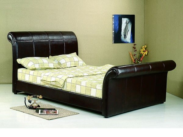 Real Leather Bed In Brown Black Double King - Homegenies