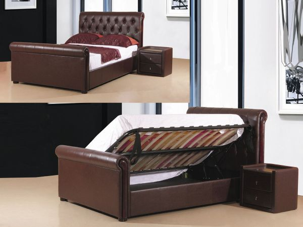 Brown Faux Leather Storage Bed In Double King Size