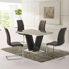 Grey Kitchen Table And Chairs Target Camping Chair Glass High Gloss Dining 4 Set