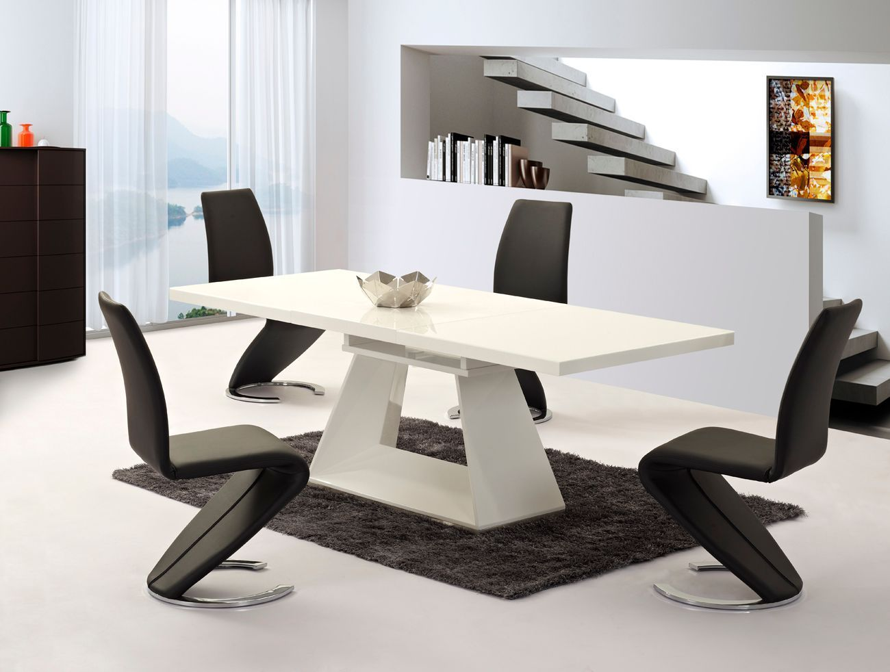 white high gloss dining table 6 chairs bicycle seat office chair extending and