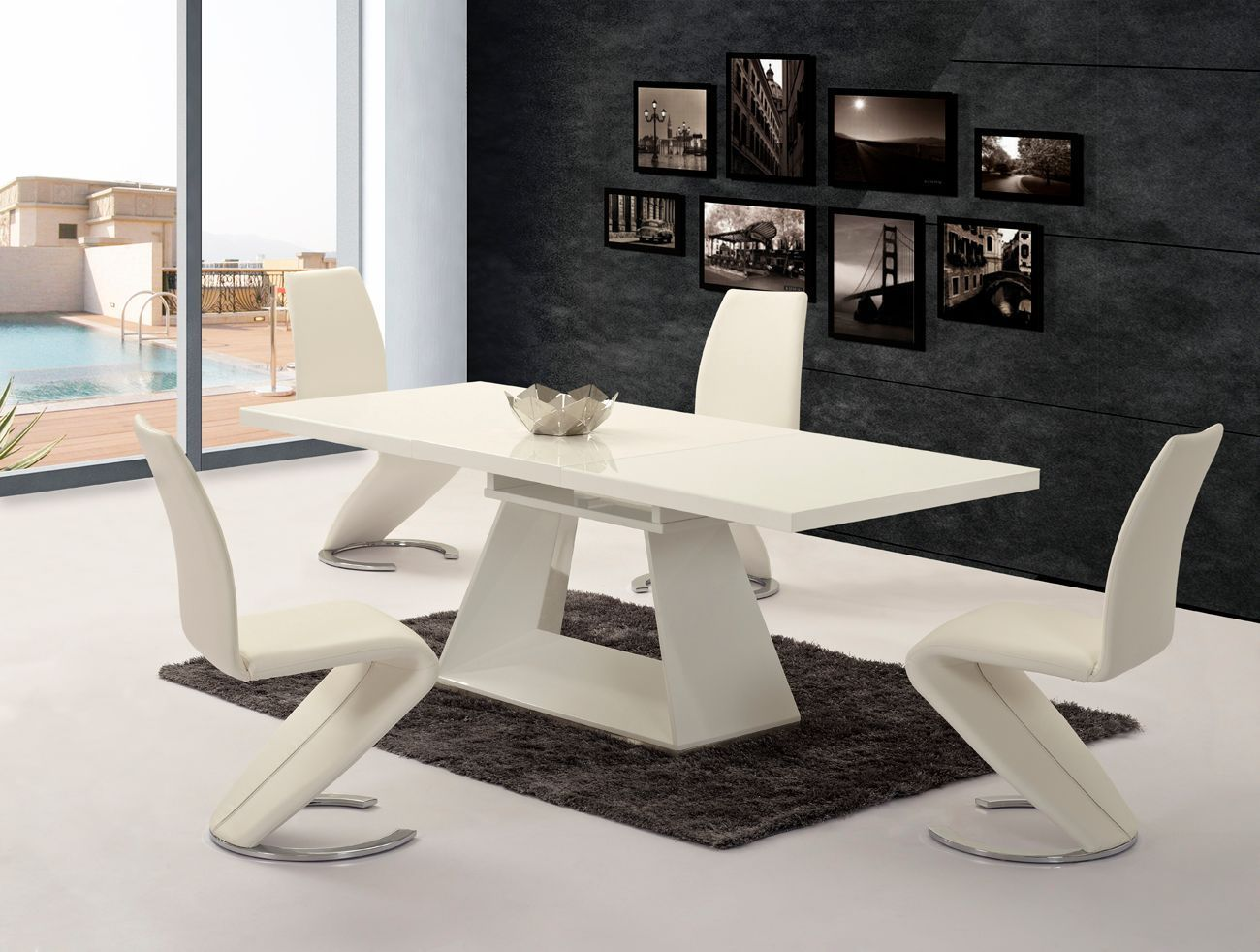 kitchen table and chair set stools walmart white extending high gloss dining & 6 z chairs ...