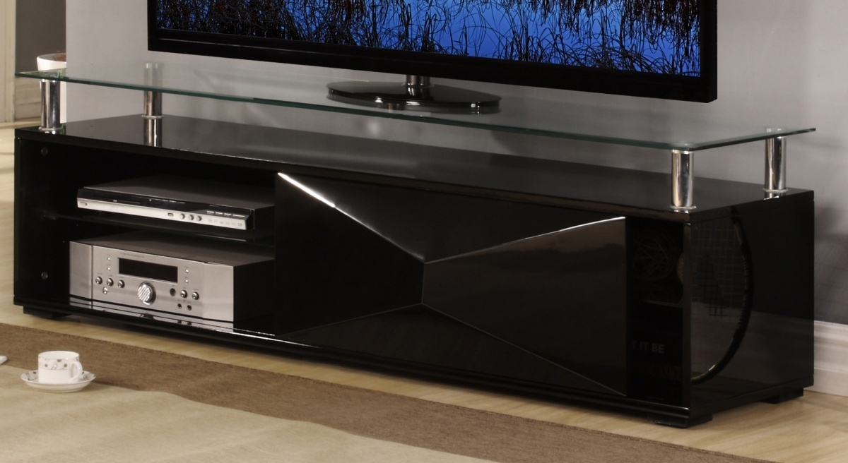 black high gloss living room furniture seating for 8 television unit with glass top - homegenies