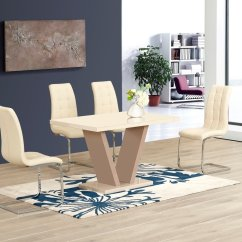 White High Gloss Dining Table 6 Chairs Kohls Zero Gravity Chair Cream Glass And Homegenies