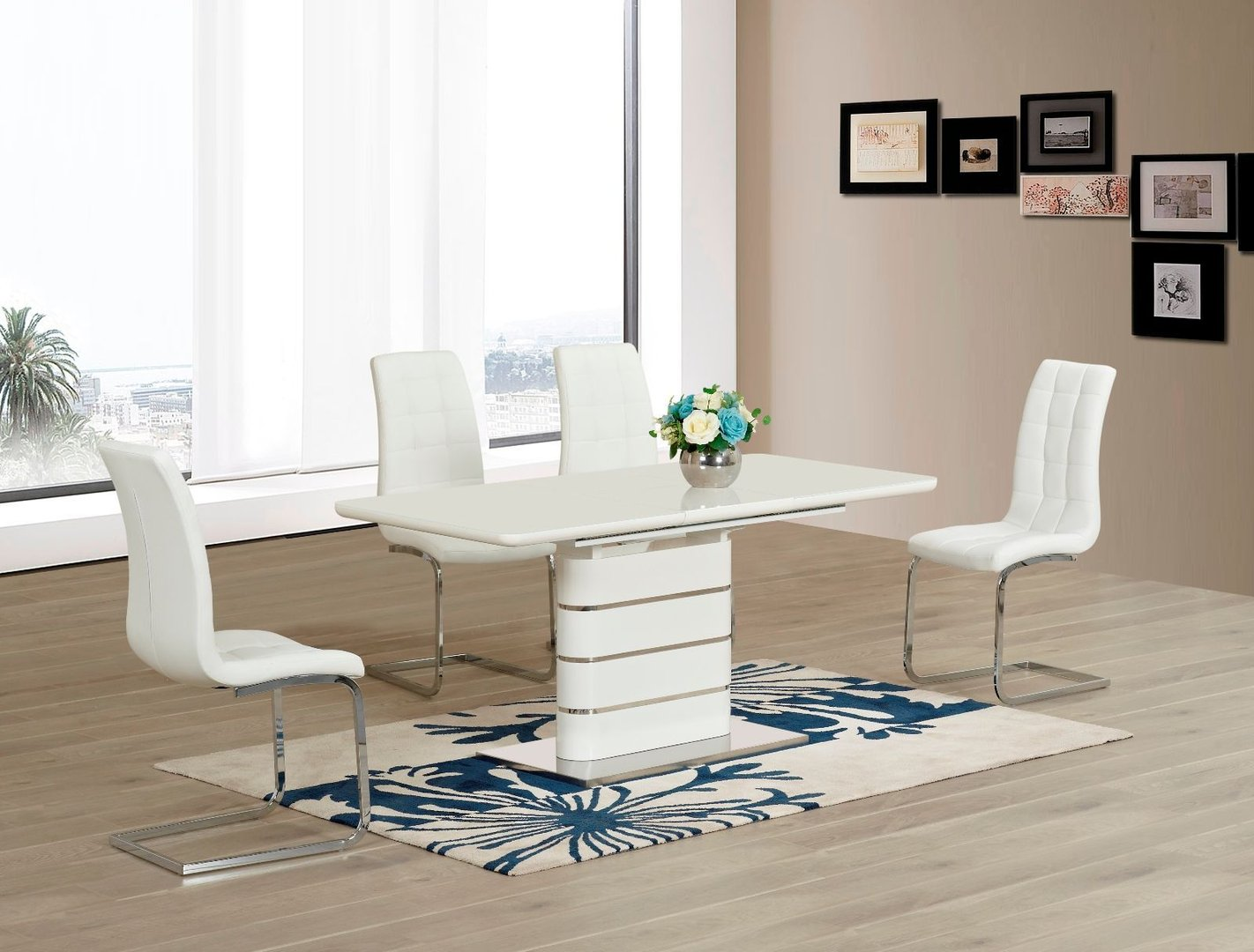 white high gloss dining table 6 chairs ergonomic operator chair glass with and