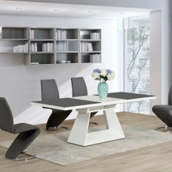 Modern Grey Dining Chairs Uk Velvet Chair White Glass High Gloss Extending Table And 8 Z