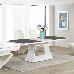 White High Gloss Dining Table 6 Chairs Lifetime Warranty Grey Glass Extending And