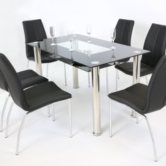 Black Dining Table And Chairs Nrg Massage Chair Clear Glass 6 Homegenies