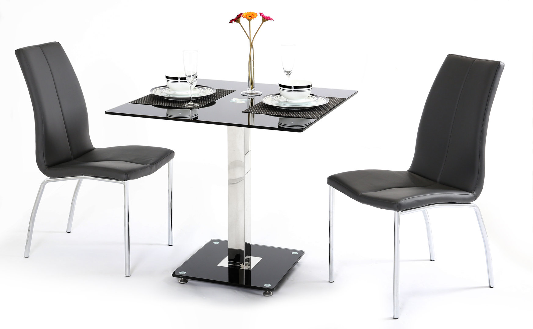 two chair dining table striped covers rooms black glass and 2 chairs homegenies