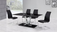 6 Seater Black Glass Dining Table and Chairs - Homegenies
