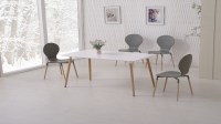 White Dining Table and 6 Grey Chairs - Homegenies