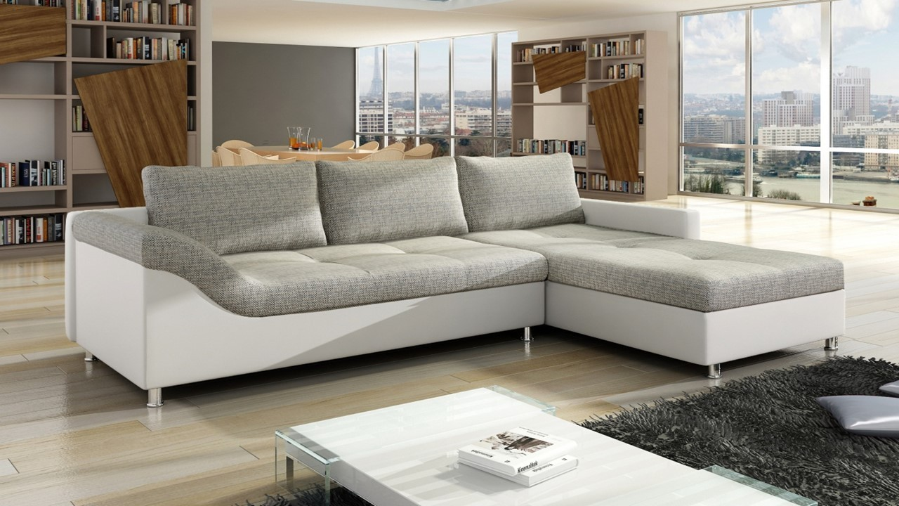 leather fabric mix sofas uk waverunner sofa canada white faux and grey corner - homegenies