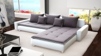 Large White Faux Leather & Grey Fabric Corner Sofa ...