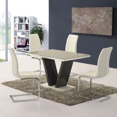 White High Gloss Dining Table 6 Chairs Chair Covers And Organza Bows Grey Glass