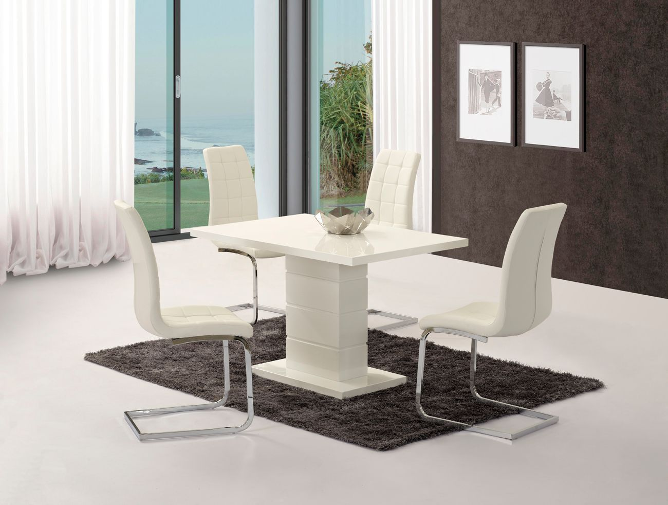 white high gloss dining table 6 chairs invisible chair trick kit set with