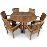 Round Teak Garden Table and 6 Chairs - Homegenies