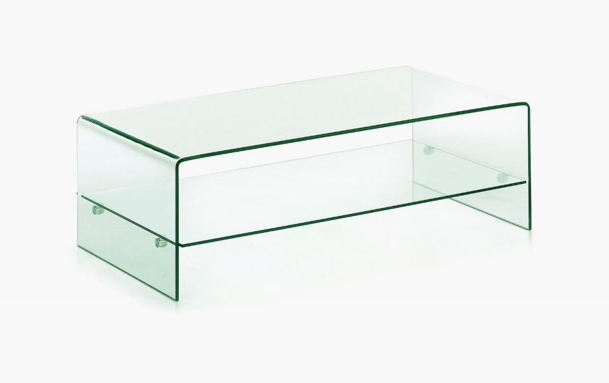 clear glass coffee table with shelf