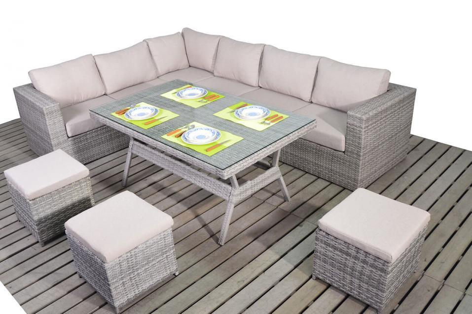grey weave garden chairs diy outdoor chair rustic left rattan corner sofa with dining table set -homegenies