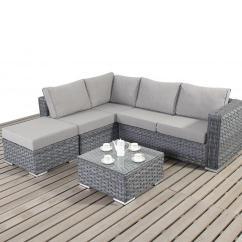 Grey Weave Garden Chairs Bean Bag Chair Covers Walmart Platinum Small Rattan Corner Sofa - Homegenies