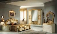 High Gloss Beige & Gold Italian Bedroom Furniture - Homegenies