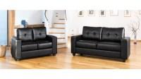Modern Black leather sofa set - Homegenies