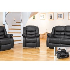 Recliner Sofa Leather Black Bobkona Atlantic 2 Piece Sectional 1 Armchair, Seater Sofa, 3