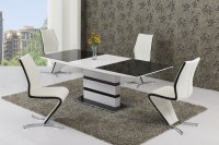 Black Glass White High Gloss Extendable Dining Table and 8 ...