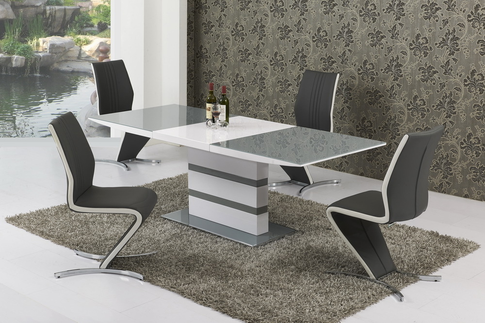 Small Extending Grey Glass High Gloss Dining Table and 4