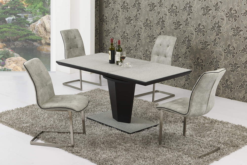 Small Extending Grey Stone Effect Glass Dining Table and 4