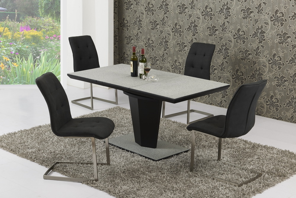 Small Extendable Grey Stone Effect Glass Dining Table  4