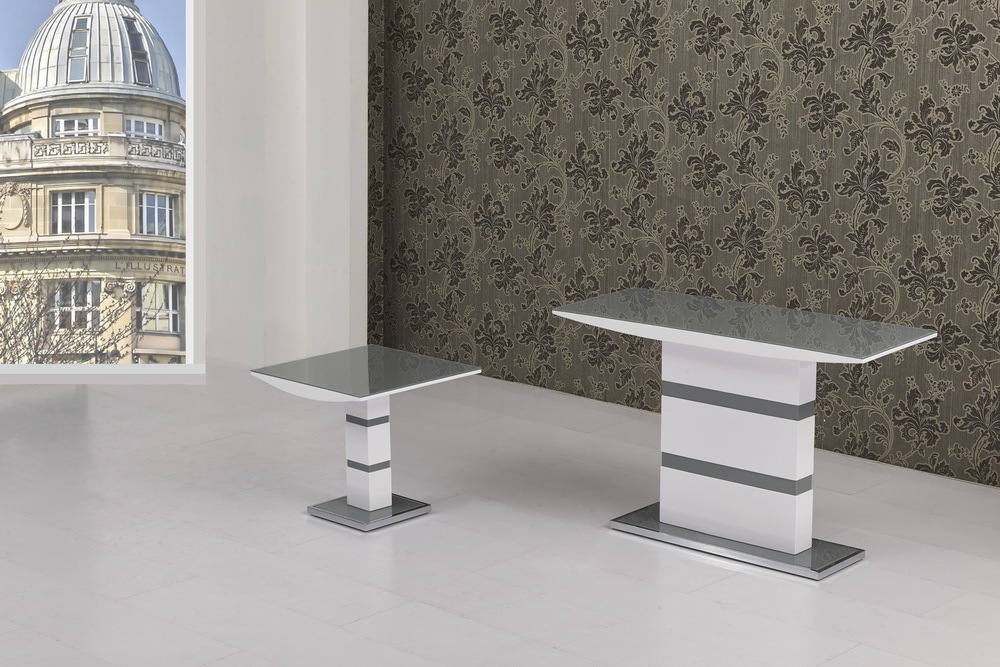 Grey Glass With White High Gloss Lamp Table Homegenies