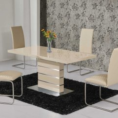 Dining Table And Chair Sets Wheelchair Companies Extending Cream High Gloss 6 Chairs