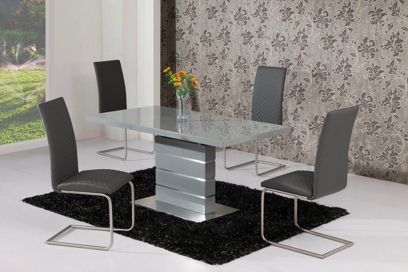 Extending Grey High Gloss Dining Table and 4 Grey Chairs