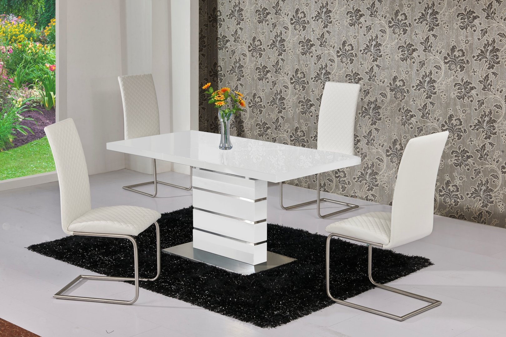 Extendable White High Gloss Dining Table and 6 White Chairs