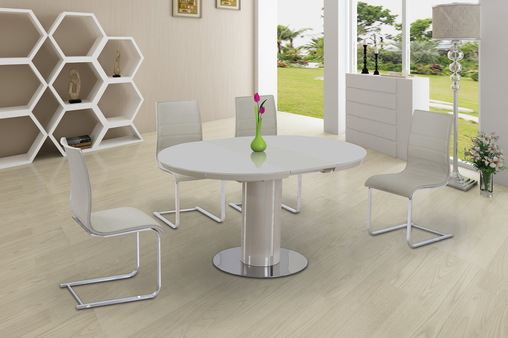 high top table chair set office offers round cream glass gloss dining & 6 chairs - homegenies