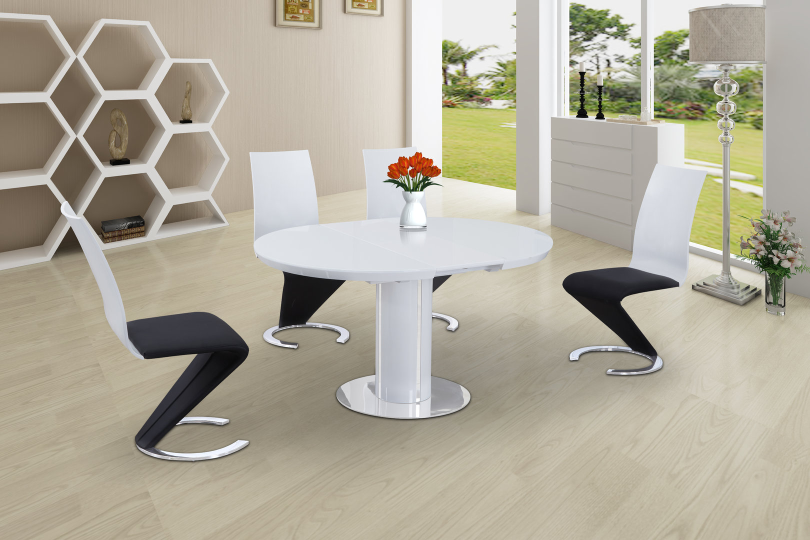 Round High Gloss Glass Dining and 6 Black with White Chairs