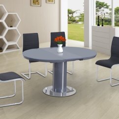 High Table Chair Set Bar Height Round Gloss Glass Dining And 6 Grey With White Chairs