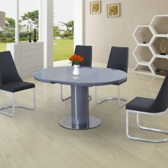 High Top Table With 6 Chairs Garden Lounge Chair Covers Round Grey Glass Gloss Dining And