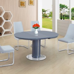 White High Gloss Dining Table 6 Chairs Wobble Chair Benefits Round Grey Glass And