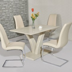 Glass Kitchen Table Set Small Remodel Cream High Gloss Dining And 4 Chairs - Homegenies
