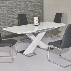 White High Gloss Dining Table 6 Chairs Office Chair Handles Extending And Grey