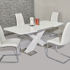 White High Gloss Dining Table 6 Chairs Chair Support For Back Extending And