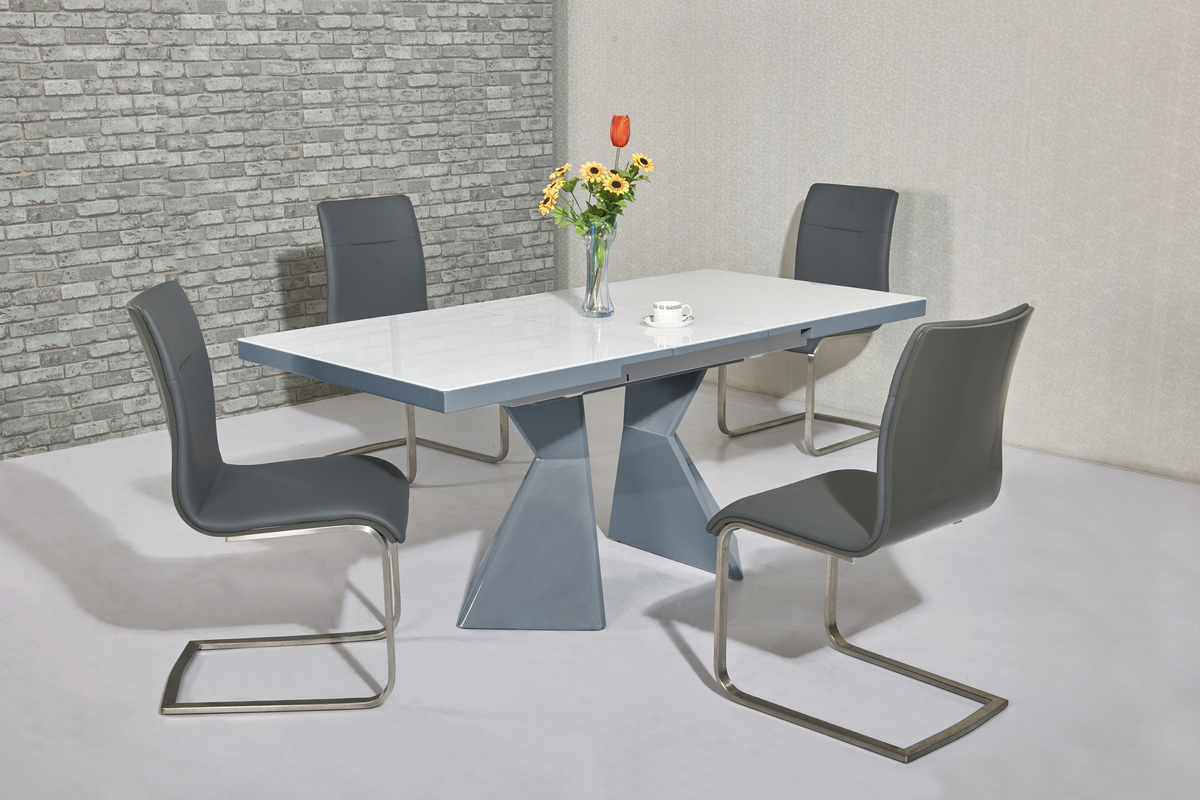 white high gloss dining table 6 chairs wheelchair van lift grey glass and