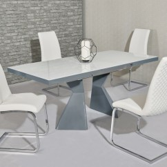 White High Gloss Dining Table 6 Chairs Captains Chair Glass Grey And