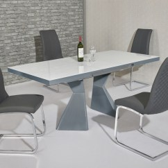 White High Gloss Dining Table 6 Chairs Kochs Barber Chair Glass Grey And