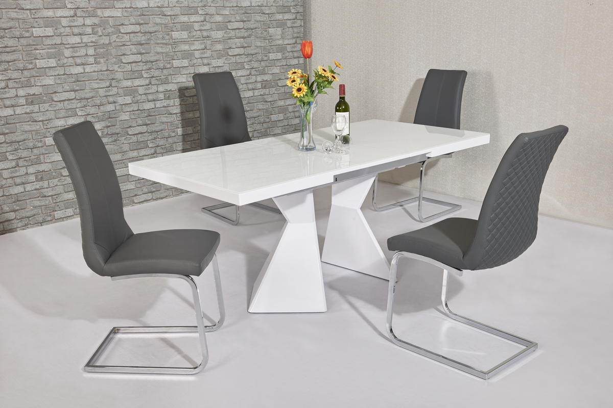 white high gloss dining table 6 chairs cheap chair cushions outdoor glass and grey homegenies