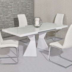 White High Gloss Dining Table 6 Chairs Ergonomic Chair Tilt Glass And Homegenies