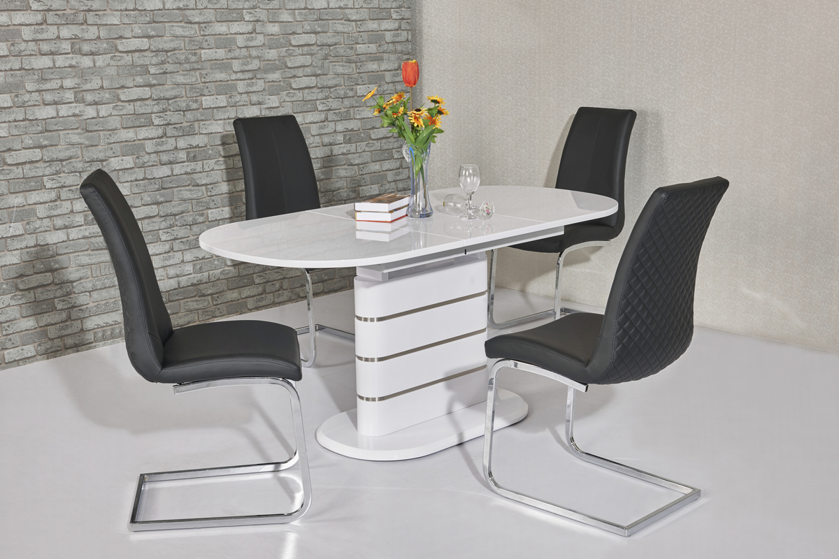 Small oval white high gloss dining table  4 chairs